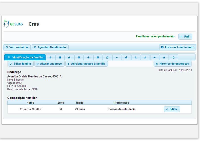 Tela de registro das informações de atendimento e acompanhamento