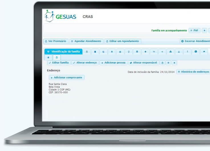 Tela de registro informatizado das informações de atendimento e acompanhamento